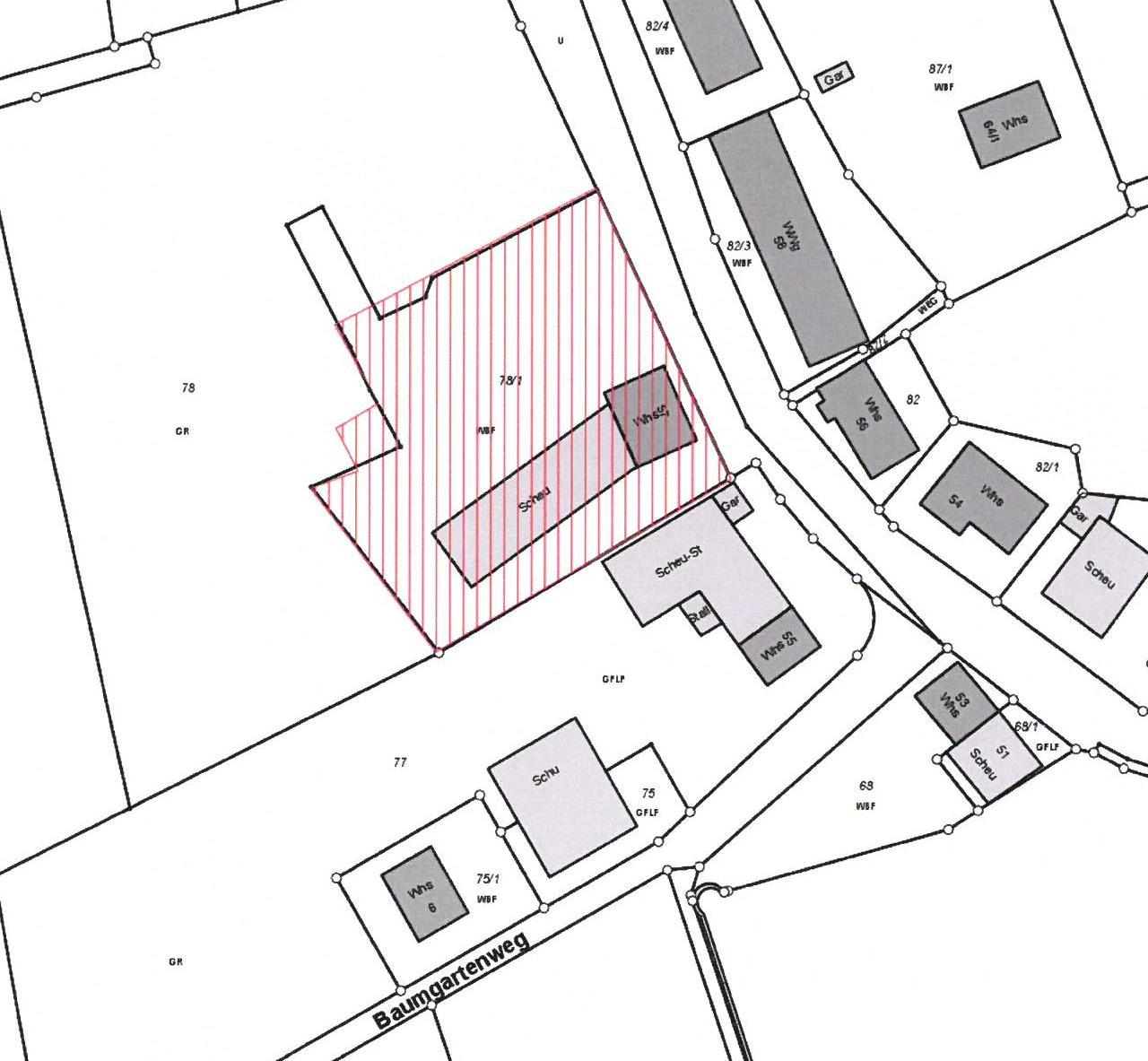 Lageplan Stettener Straße mit Einbeziehungsfläche