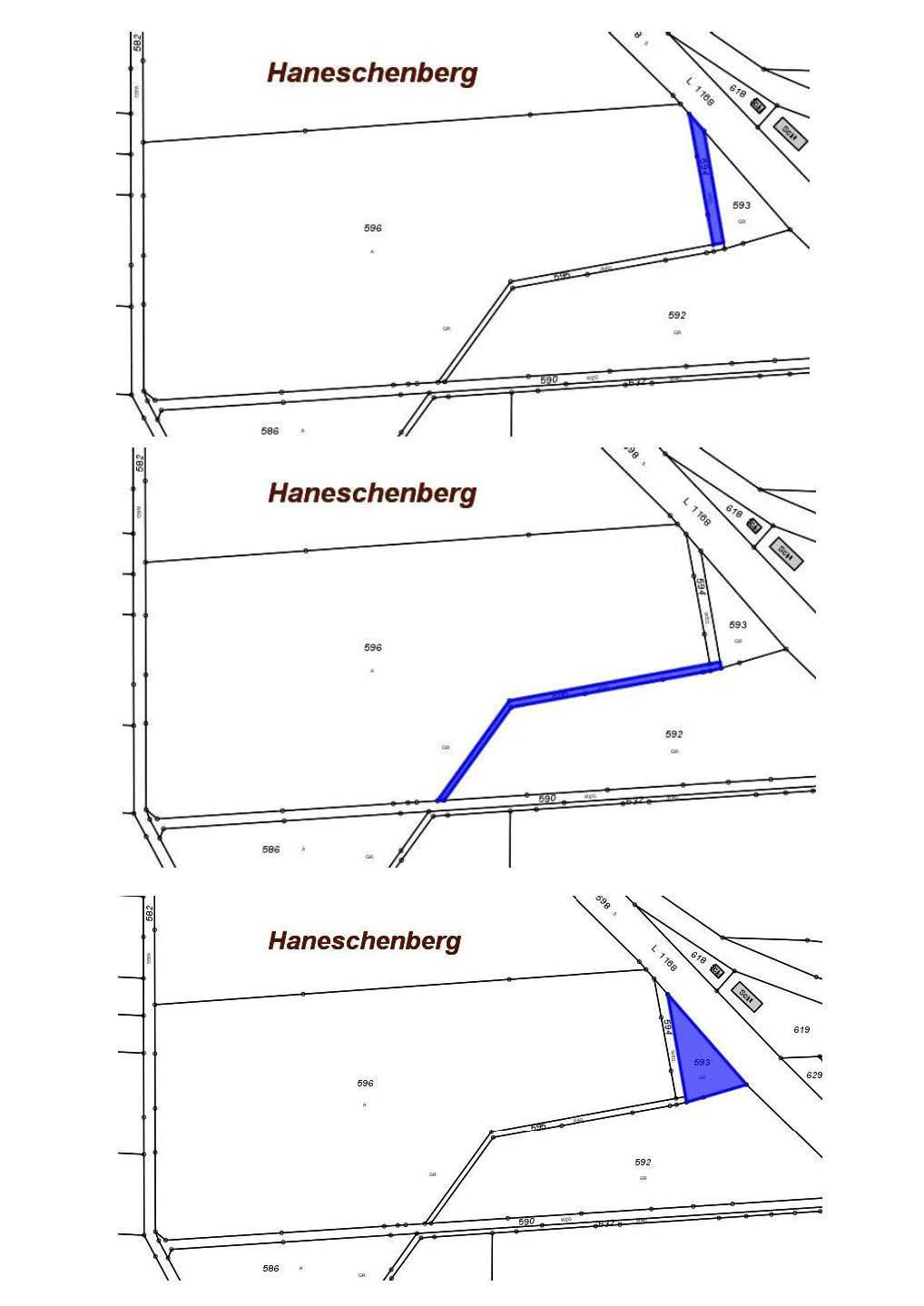 Planzskizze Entwidmung der Feldwege Flurstücke 593, 594, 595 Gemarkung Oberstotzingen