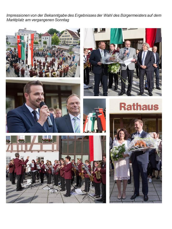 Impressionen von der Bekanntgabe des Ergebnisses der Wahl des Bürgermeisters auf dem Marktplatz am 19.06.2016
