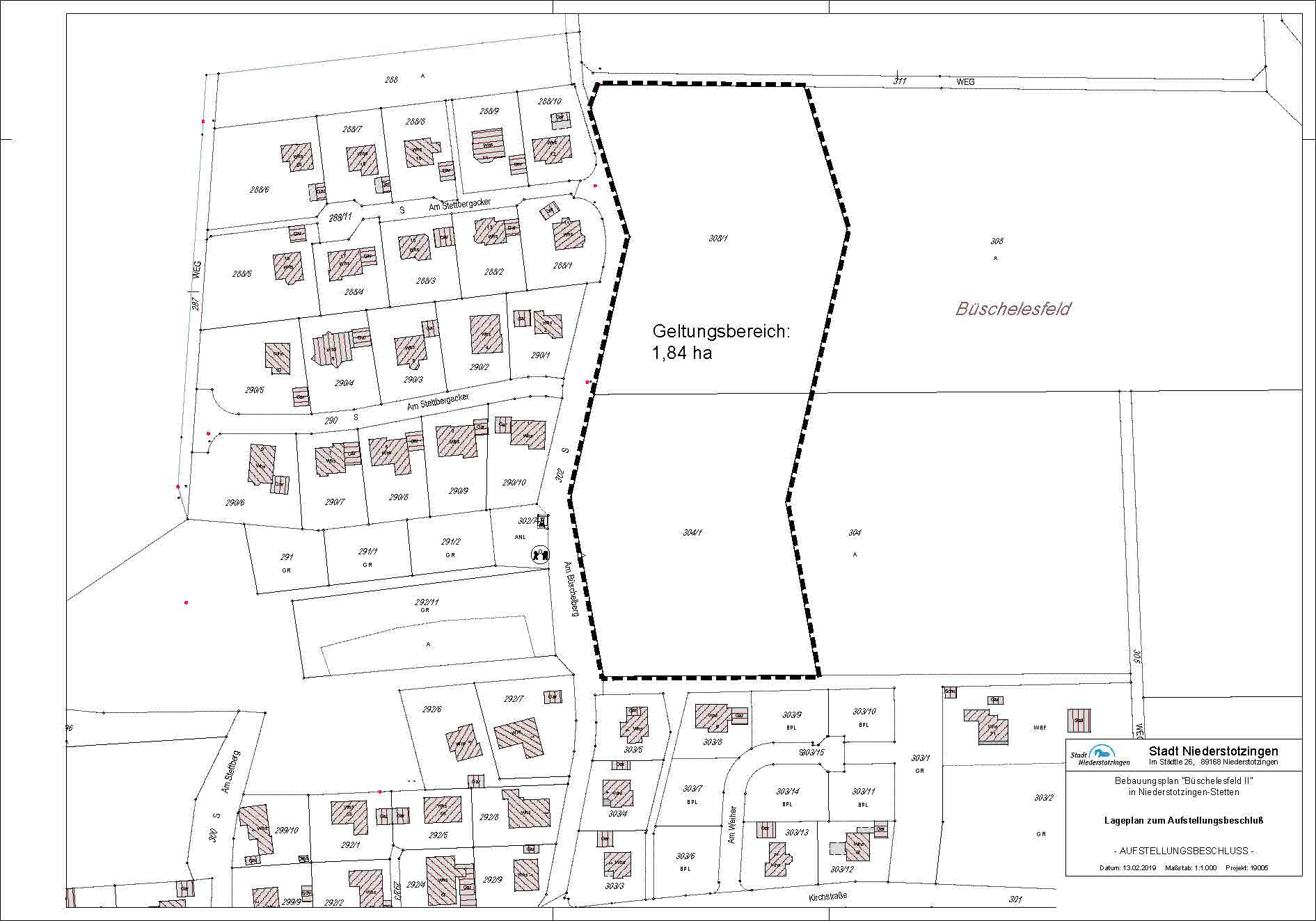 Büschelesfeld II - Lageplan zum Aufstellungsbeschluss