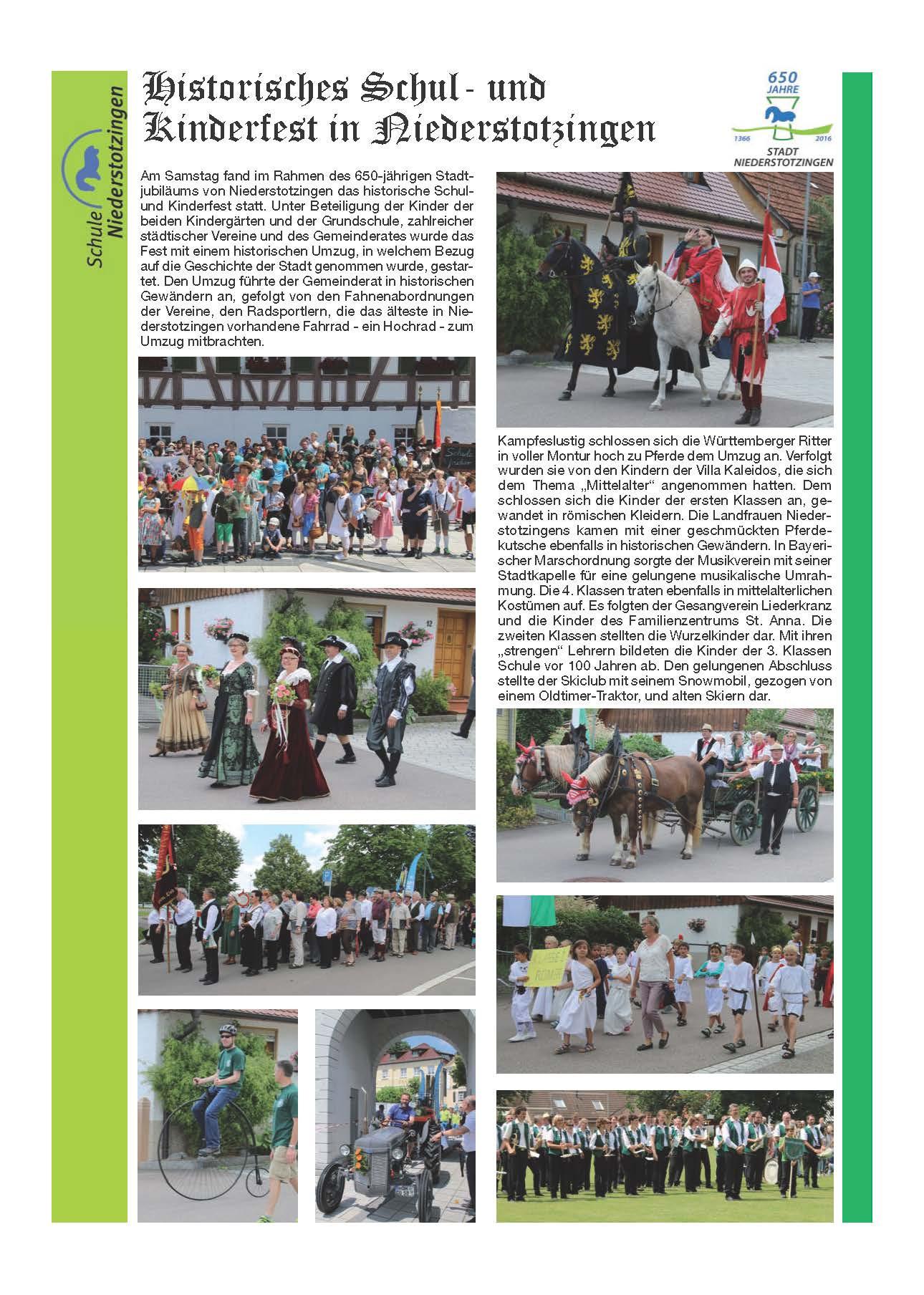 Rückblick Historisches Kinderfest am 16.07.2016 Seite 1