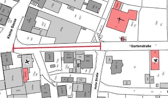 Planskizze: Straßen- und Gehwegsperrung im Kreuzungsbereich Gartenstraße / Andreasweg