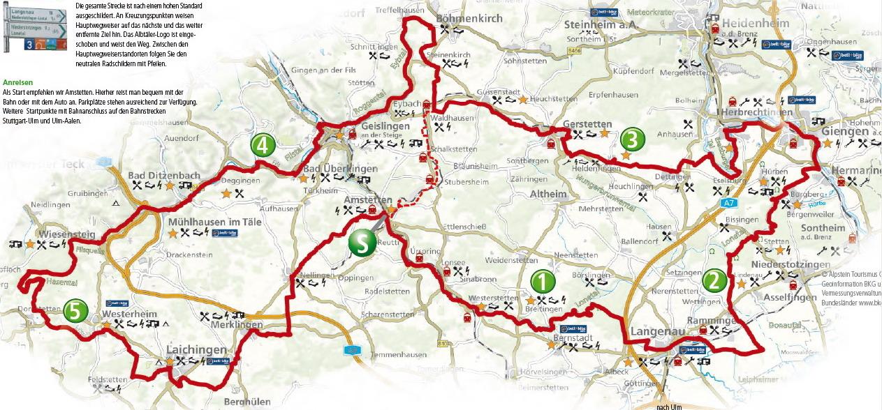 Übersichtskarte Älbtäler-Radweg