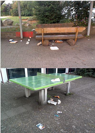 Müllablagerungen auf dem Schulhof