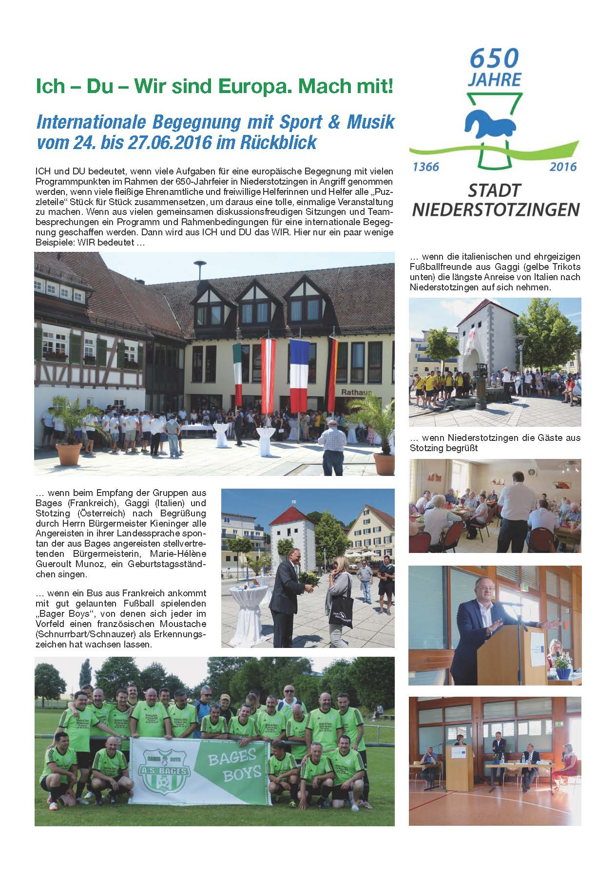 Rückblick Internationale Begegnung mit Sport und Musik vom 24. bis 27.06.2016 Seite 1