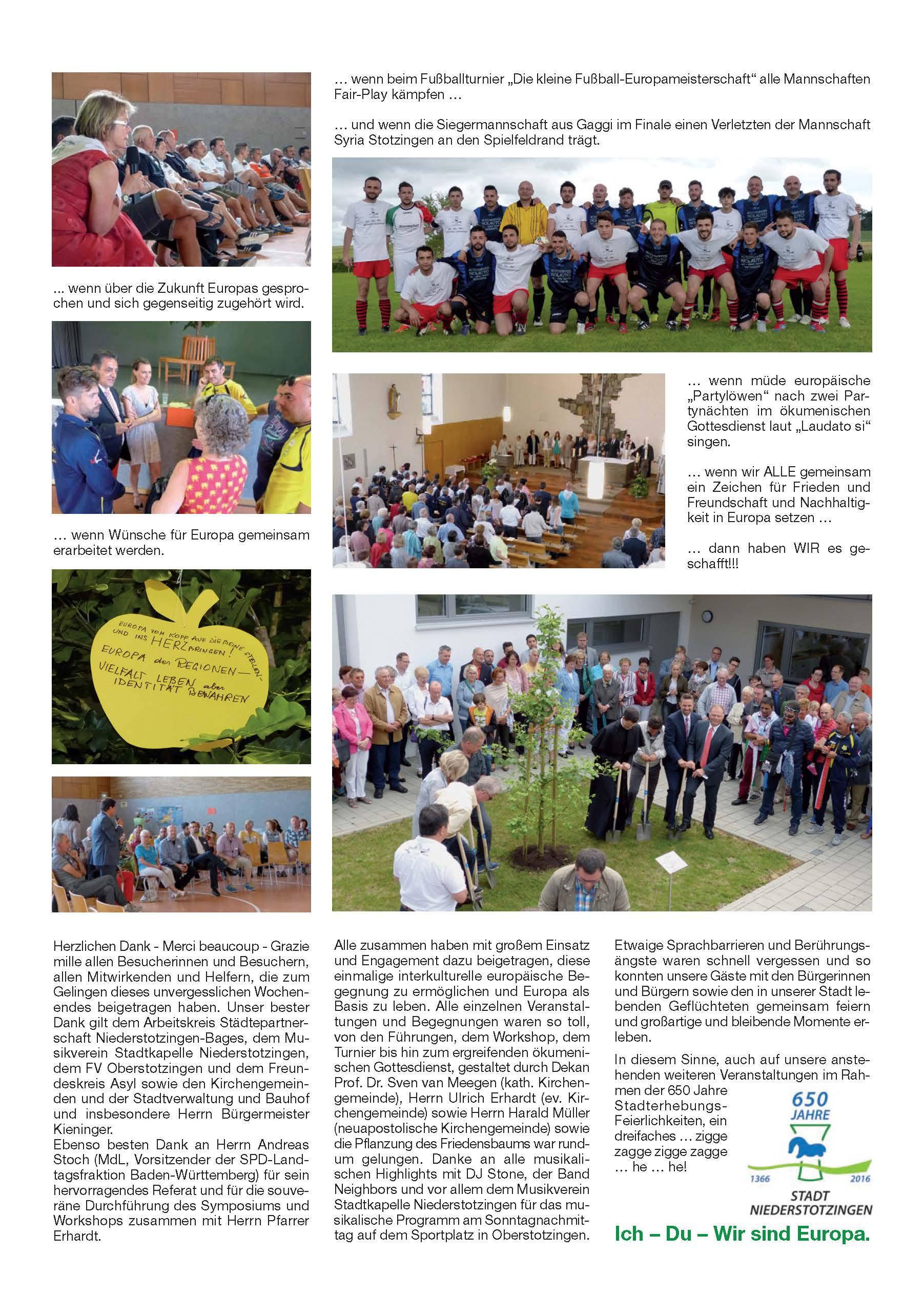 Rückblick Internationale Begegnung mit Sport und Musik vom 24. bis 27.06.2016 Seite 2
