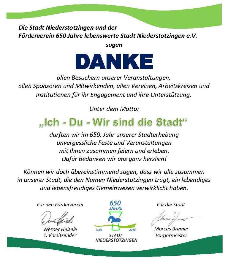 Danke an alle Mitwirkenden im Festjahr 650 Jahre Stadt Niederstotzingen