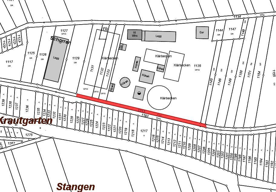 Planskizze: Beabsichtige Teilentwidmung des Feldweges Flurstück 1153 auf der Gemarkung Niederstotzingen
