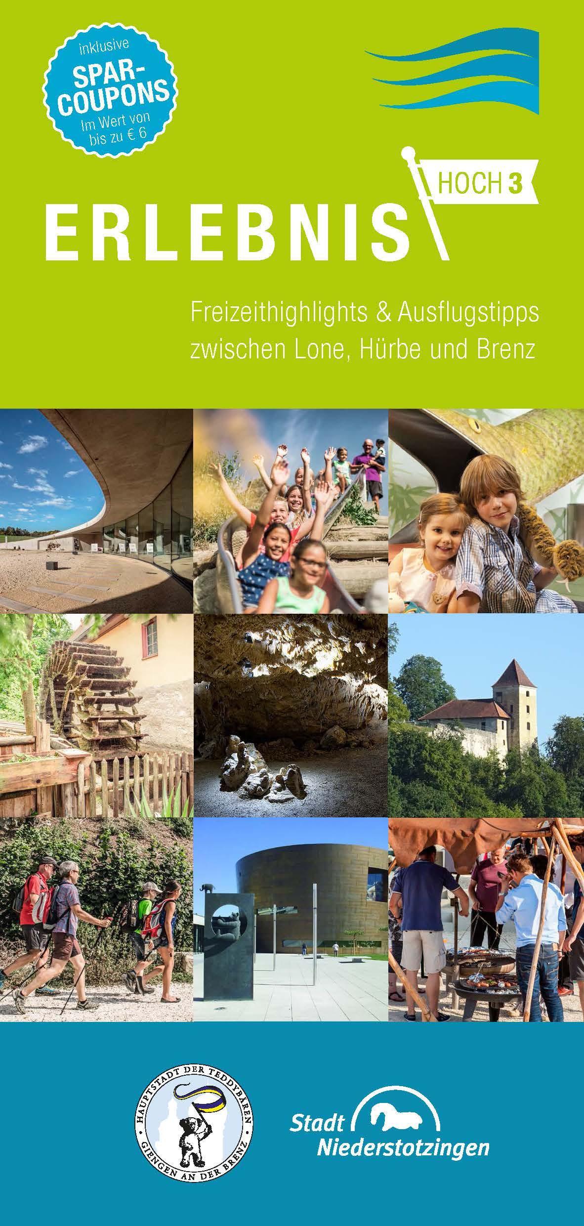 Flyer Erlebnis Hoch 3 - Freizeithighlights und Ausflugtips zwischen Lone, Hürbe und Brenz (PDF)